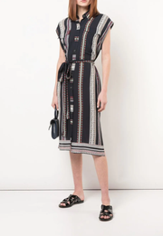 Belted Provincal Striped Sleeveless Button-Down Shirt Dress