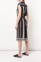 DEREK LAM - Belted Provincal Striped Sleeveless Button-Down Shirt Dress