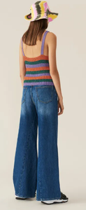 GANNI - Classic Denim Wide Pants Medium Dark Denim