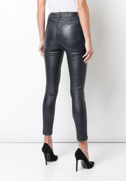 Navy Madrid Leather Pants