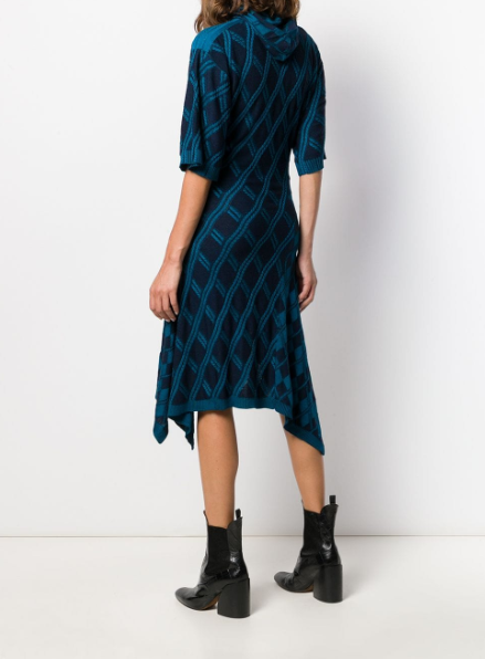 Argyle Asymmetric Knitted Dress