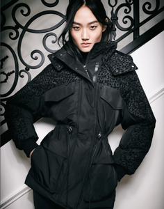 MACKAGE - Reece Black Leopard Sleeve Down Jacket