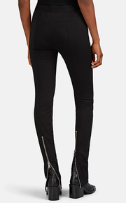 Cotton Gabardine Zip-Detailed Skinny Pants
