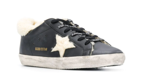 GOLDEN GOOSE - Black Shearling Superstar Sneakers