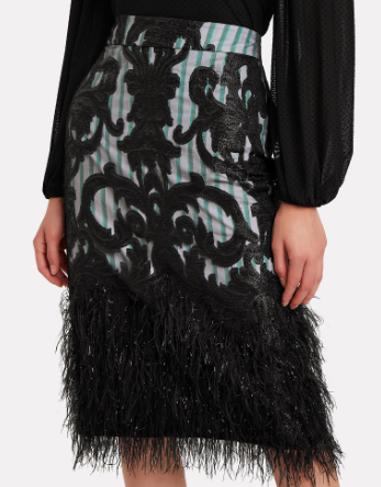 Layered Feathers Midi Skirt
