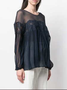 STELLA MCCARTNEY - Lace Detail Navy Blouse