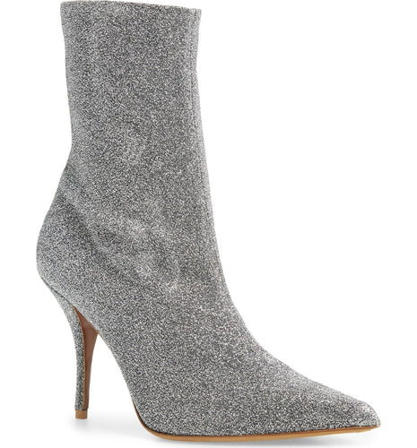 TABITHA SIMMONS - Eldon Silver Stretch Lurex Ankle Boot