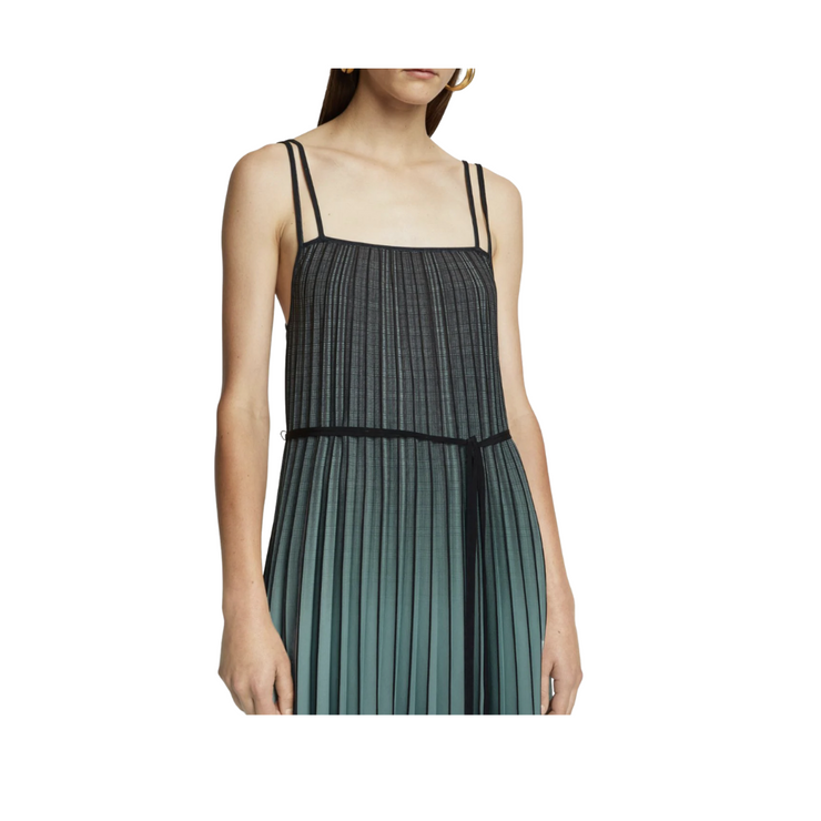 Ombre Plaid Pleated Dress