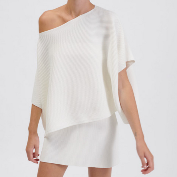 Off Shoulder Cropped Rib Knit
