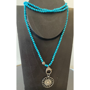 Hand Knotted Turquoise Chain with Diamond Starburst