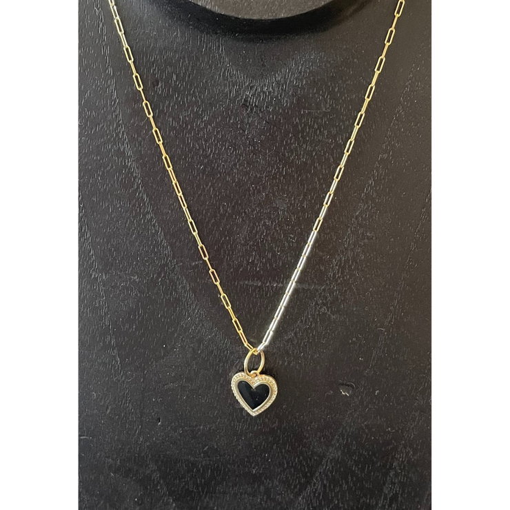 Paperclip Chain with Black Enamel Heart