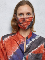 Stripe Print Silk Cotton Sateen Mask