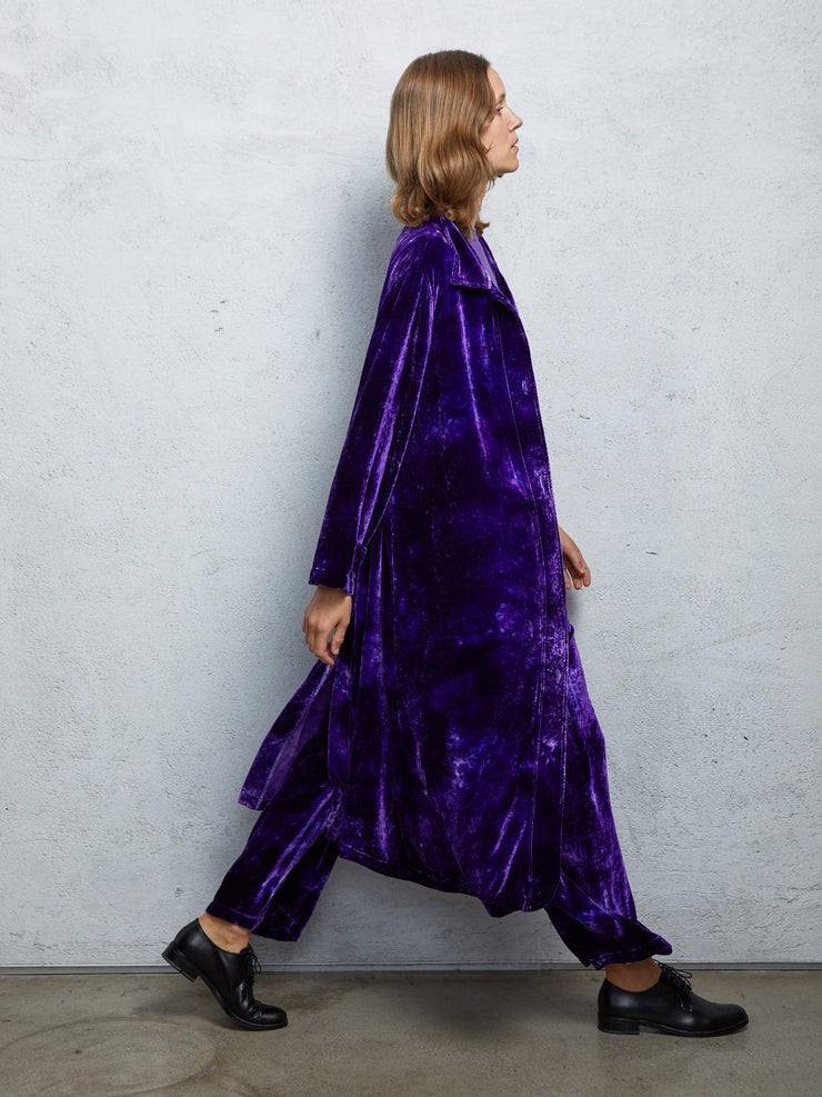 Purple Cloud Velvet House Party Trench