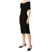 Altuzarra Peggy Knit Dress in Black (off the shoulder, knee length) from Gretta Luxe