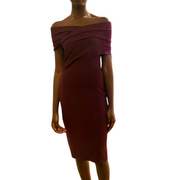 Altuzarra Peggy Knit Dress in Juniper Berry (off the shoulder, knee length) from Gretta Luxe