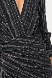 ALTUZARRA - Long Sleeve Metallic Stripe Dress