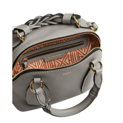 Small Chloé Daria bag in Stormy Grey with shoulder strop, braided top handle and gold hardware