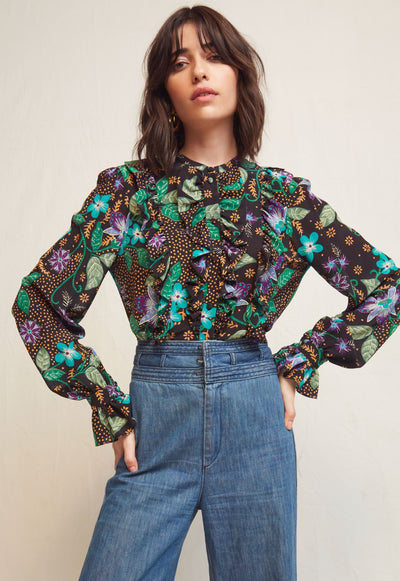 WARM - Black/Green Print Top