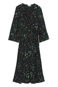 GANNI - Printed Crepe Wrap Dress