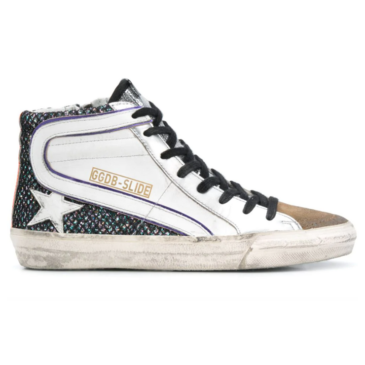 Golden Goose Slide Hi Top sneakers with white leather wave and star, side zip closure, black laces, metallic fabric and orange detailing. Shop online at Gretta Luxe (www.gretta.co).