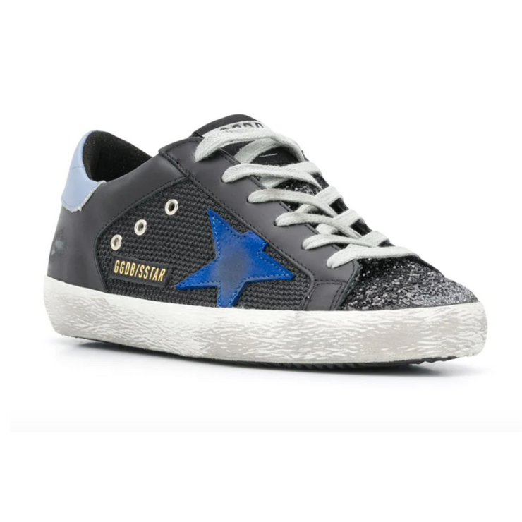 Golden Goose Superstar Sneakers with black glitter toe, black leather upper and blue suede star
