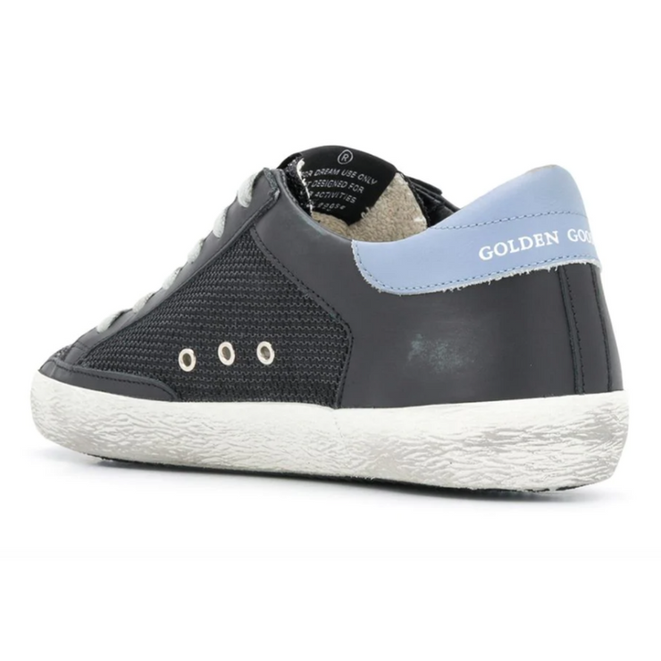 Golden Goose Superstar Sneakers with black glitter toe, black leather upper and blue suede star.