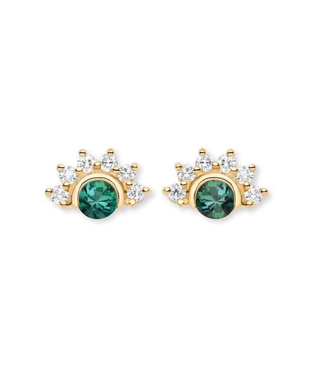 Mystic Green Tourmaline Stud Earrings (Pair) in Yellow Gold
