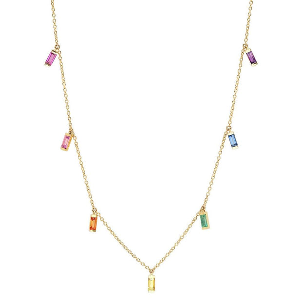 ERINESS - RAINBOW BAGUETTE NECKLACE