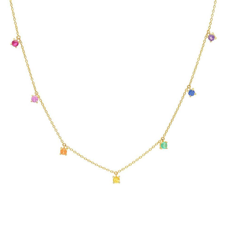14K Yellow Gold Rainbow Charm Necklace