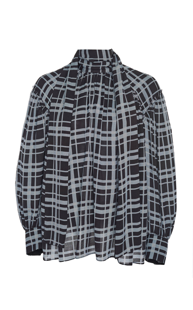 PROENZA SCHOULER - Plaid Tie-Detailed Chiffon Blouse