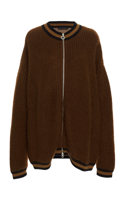 Oversized Stripe-Detailed Mohair-Blend Cardigan