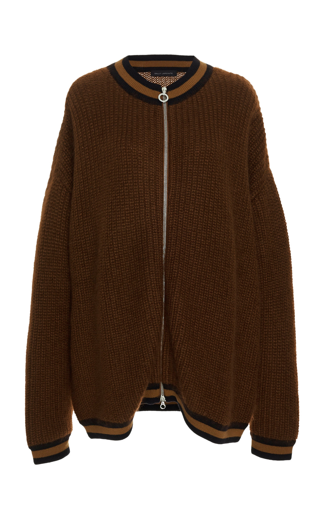 SALLY LAPOINTE - Oversized Stripe-Detailed Mohair-Blend Cardigan