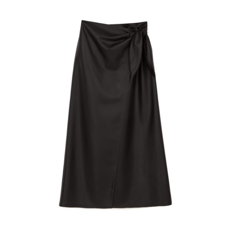 Black wrap skirt with tie waist on the right side against a plain white background