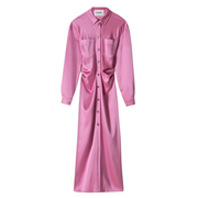 Long sleeve pink satin shirtdress laying flat against a white background.