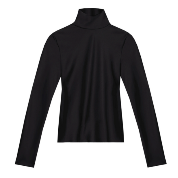 Black long sleeve turtleneck against a plain white background.