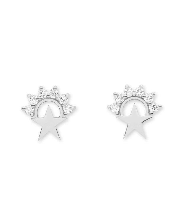 Mystic Small Star Stud Earrings (Pair) in White Gold