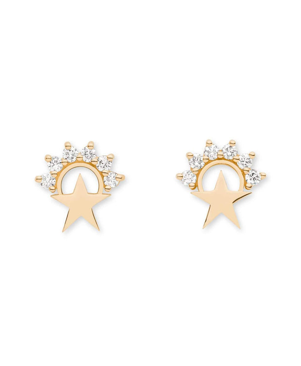 Mystic Small Star Stud Earrings (Pair)- Yellow Gold