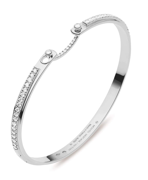 Mood Diamond Tuxedo Bangle in White Gold
