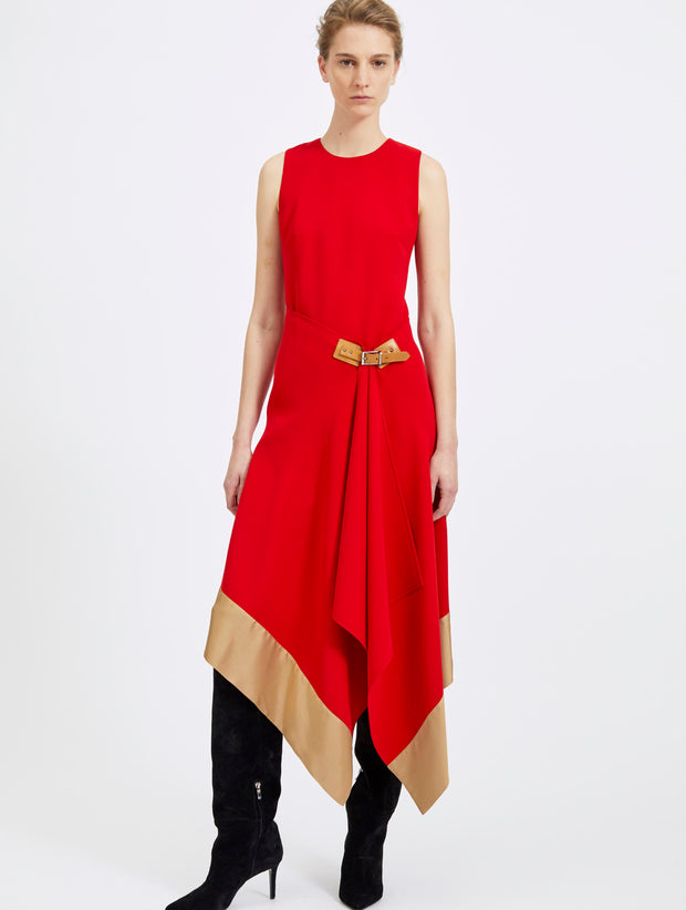 Sleeveless Crepe Dress with Folded Skirt