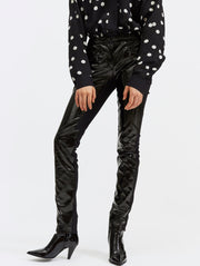 Vinyl and Crepe Black Biker Leggings