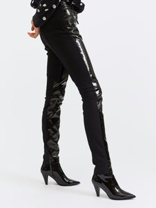 BARBARA BUI - Vinyl and Crepe Black Biker Leggings