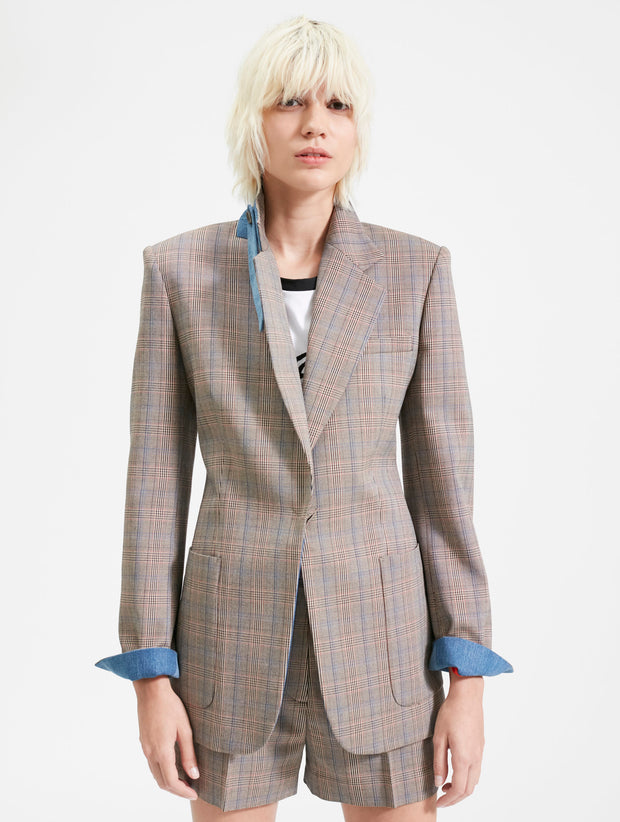 Plaid Blazer with Denim Cuffs