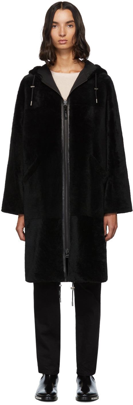 YVES SALOMON ARMY - Reversible Black Shearling Twill Parka