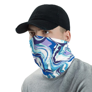 """Blue Swirl"" Wraparound Face Mask"