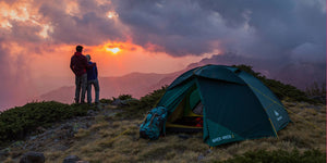 Couples Camping Outdoors Mountains Sunset Tent