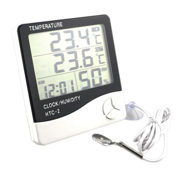 Digital LCD Indoor/Outdoor Room Hygrometer Thermometer Clock - The Rugged Few