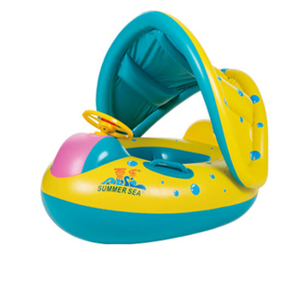 Baby Pool Float, The Rugged Few Baby Inflatable Swimming Ring with Adjustable/Removable Sun Shade Canopy Safety Seat for Age 6-36 Months Toddlers - The Rugged Few