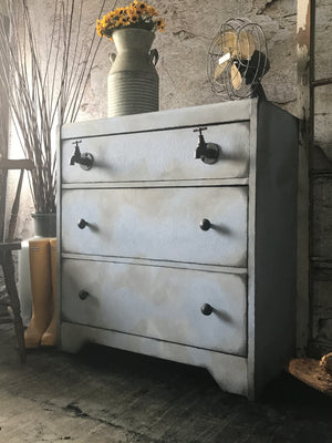 Reclaimed Heirloom's: Tap Works- 3 Drawer Waterfall Dresser