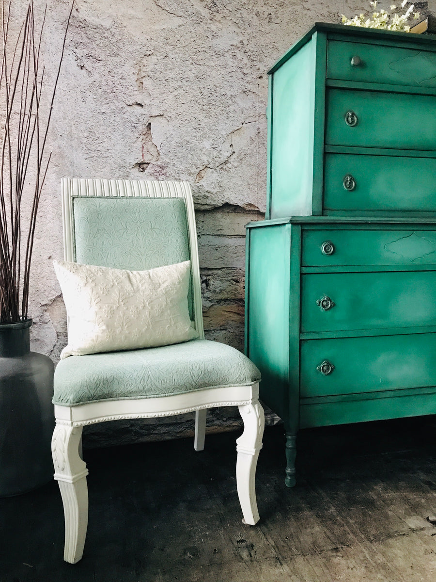 Reclaimed Heirloom's: Fabric Chalk Painted Chair