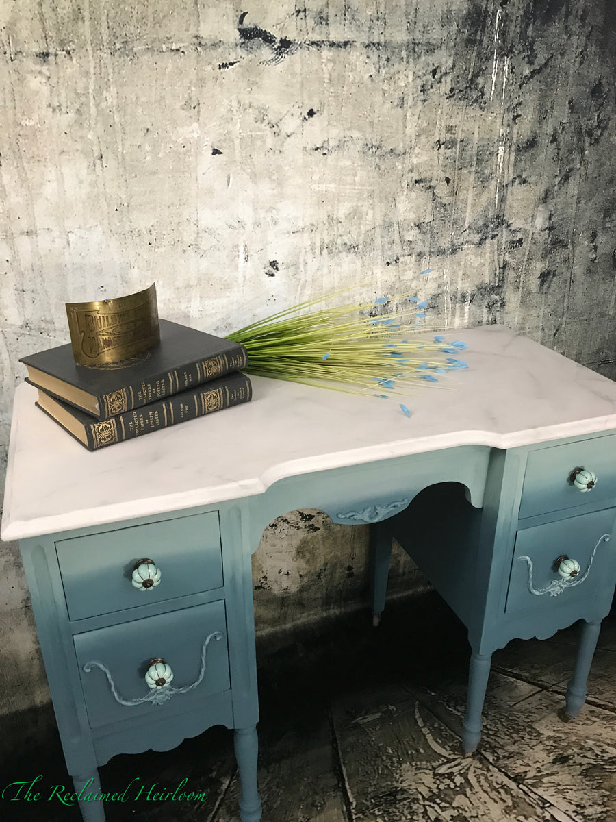 Reclaimed Heirloom's: Blue Sky desk with Faux Marble Top